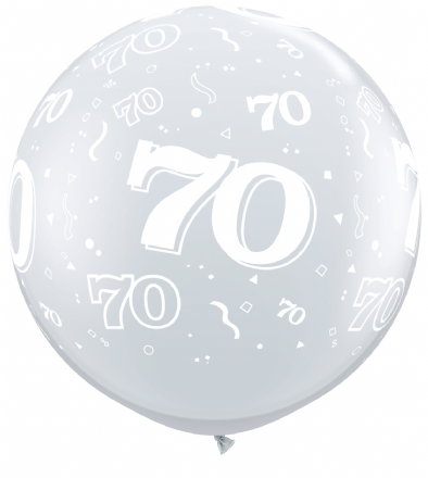 3FT Diamond Clear Age 70 Latex Balloons x 2